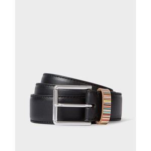 Keeper Sig/Stripe Leather Belt Black