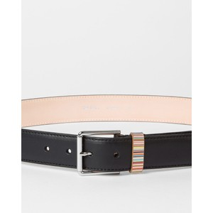Paul Smith Accessories Keeper Sig/Stripe Leather Belt Black