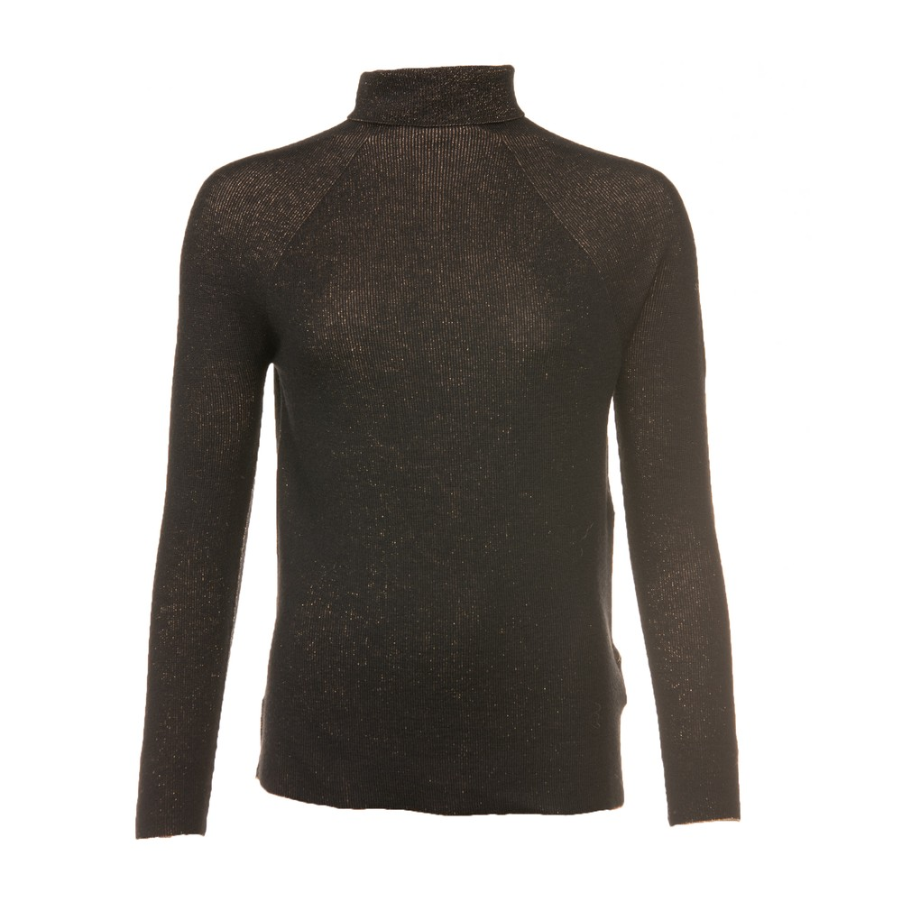 D Exterior L/S Roll Neck Lurex Knit Black/Gold