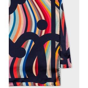 Paul Smith Accessories Polka/logo Swirl Silk Scarf Navy/Multi