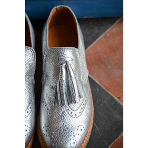 Camber Metallic Leather Shoes Silver