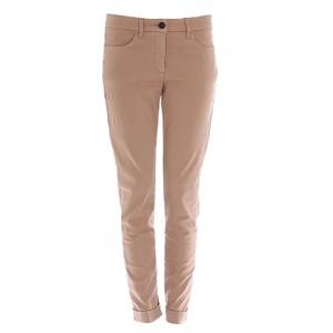 Luisa Cerano Skinny Leg Trousers-Turn Ups in Toffee