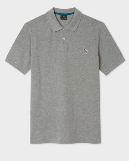 Paul Smith S/S Zebra Logo Polo-Reg Fit Grey Melange
