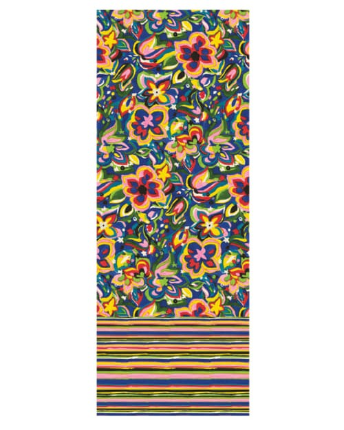 Paul Smith Accessories Floral/Stripe Silk Scarf Bright Multi
