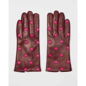 Leather Polka Dot Gloves Burgundy/Pink