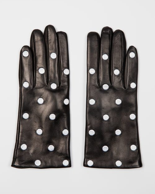 Paul Smith Accessories Leather Polka Dot Gloves Black/White