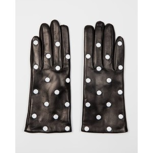 Leather Polka Dot Gloves Black/White