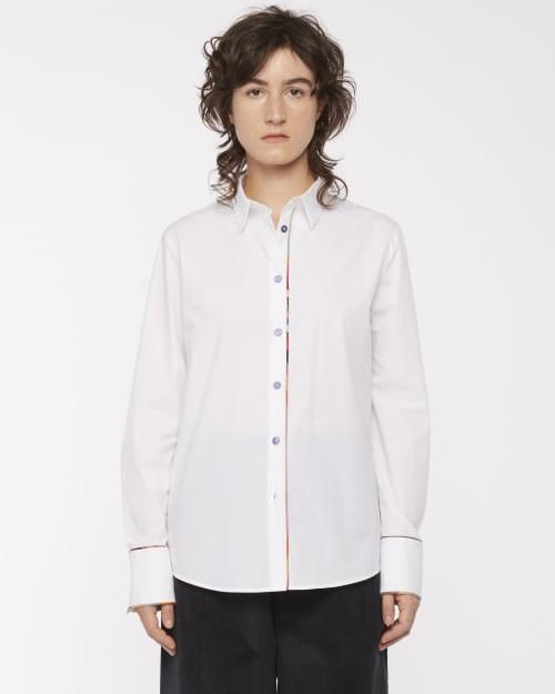 Paul Smith Womens Sig Stripe Trim Shirt White/Multi
