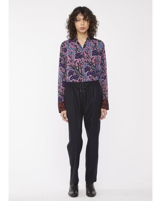 Paul Smith Womens Drawstring Wst Wool Trousers Dark Navy