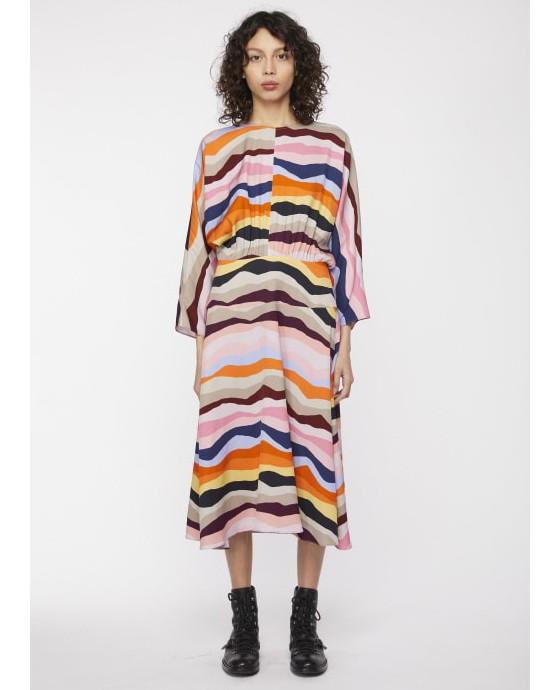 Paul Smith Womens Batwing Mountain Stripe Dress Multi