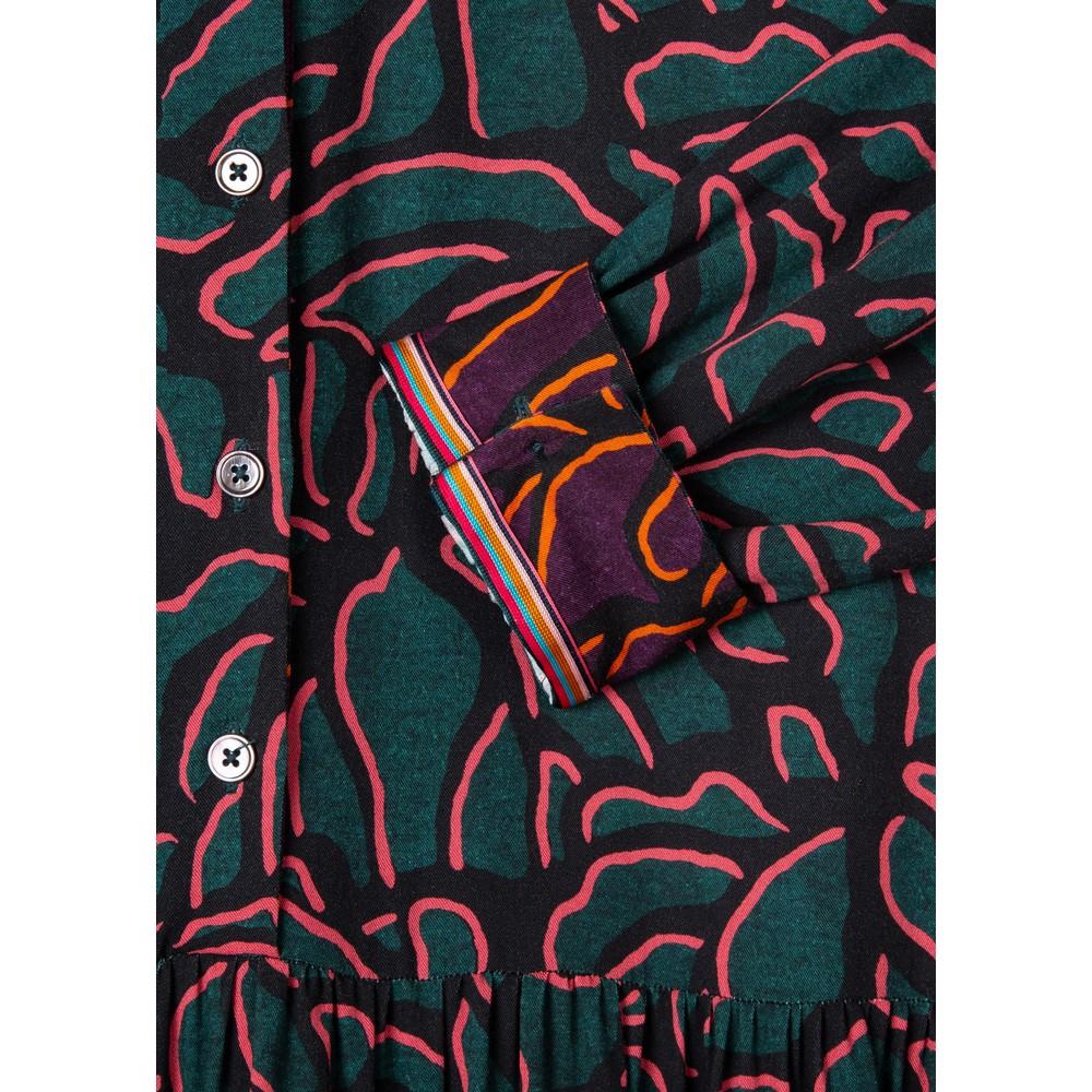 Paul Smith Womens Shadow Petals Print Dress Dark Green/Pink