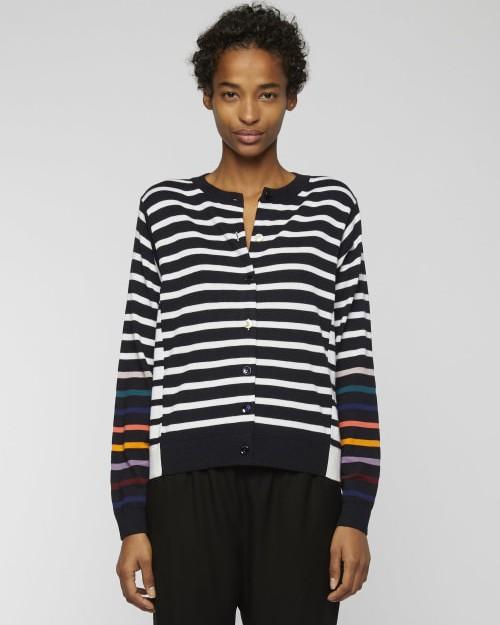 Paul Smith Womens Stripe Cardi Colour Strp Slvs Dk Navy/White/Multi