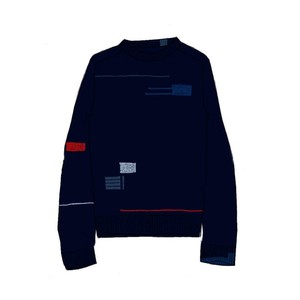 Contrast Patches C/N Knit Dark Navy
