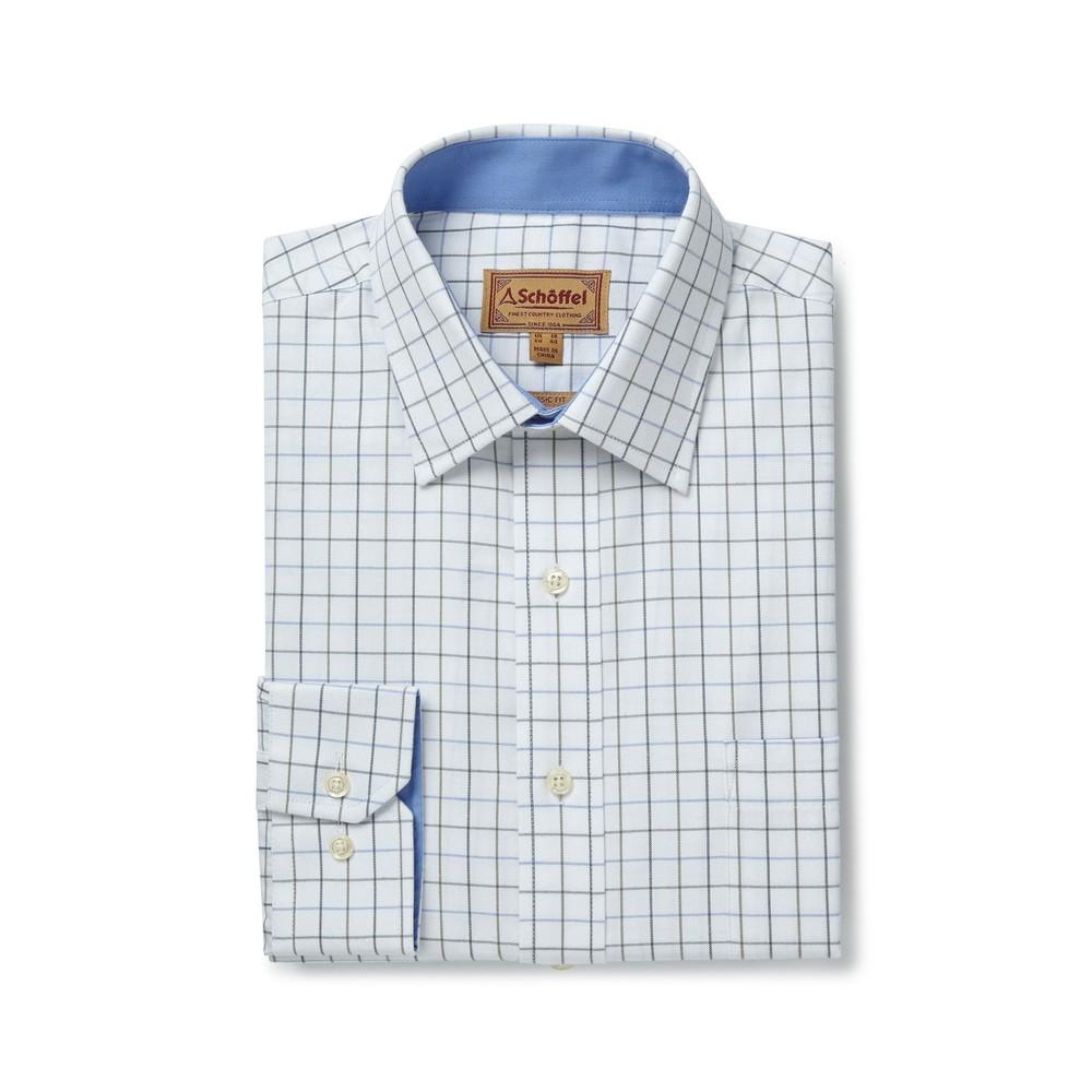 Schoffel Country Burnham Tattersal Shirt Blue/Olive Check