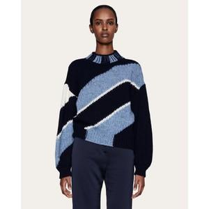 Stine Goya Adonis Diagonal Knit Navy/Blue/Cream