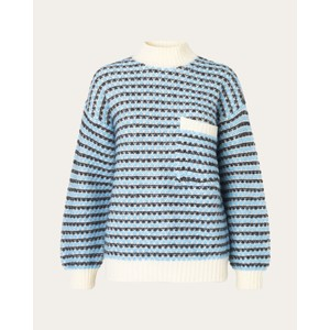 Nalin Stripe Chunky Knit Sand/Blue/Charcoal