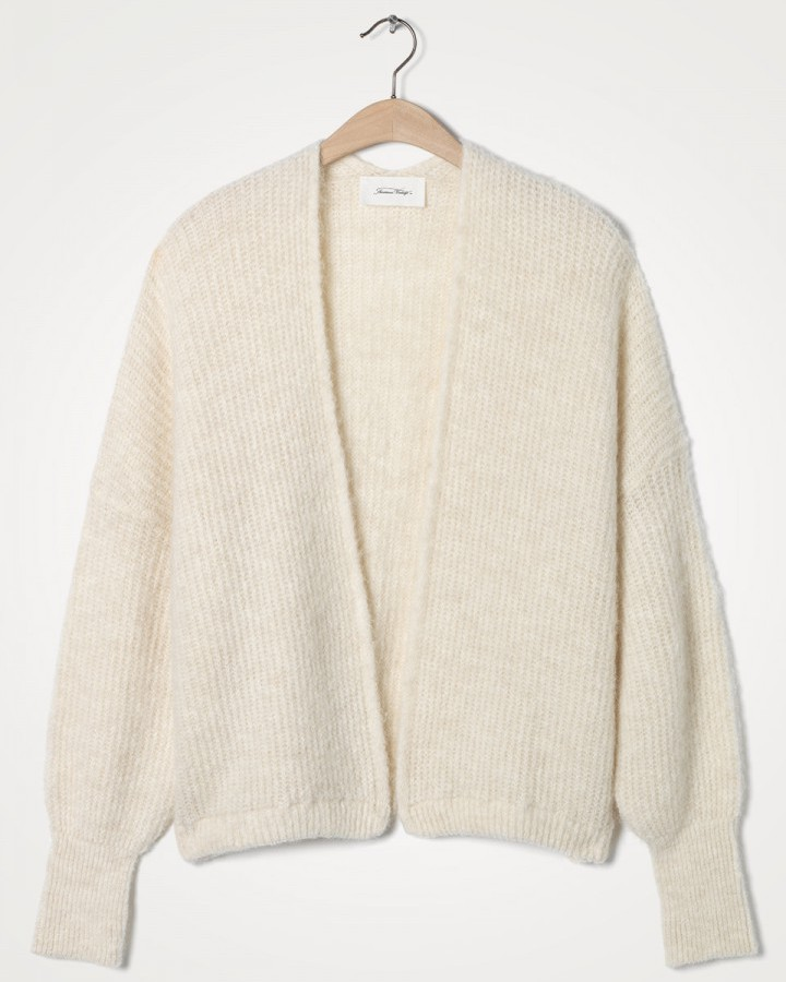 American Vintage East Chunky Knit Open Cardi Mother Of Pearl Melange