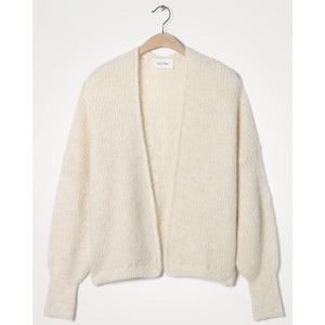 American Vintage East Chunky Knit Open Cardi in Mother Of Pearl Melange