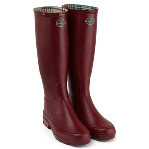 Le Chameau Iris Jersey Lined Boot in Rouge