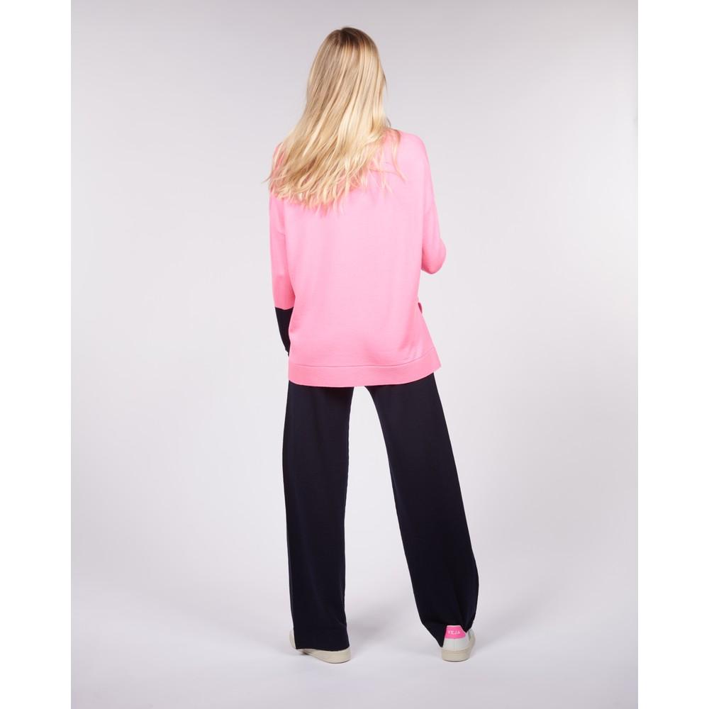 Cavells Merino Box V Bright Pink/Dark Navy