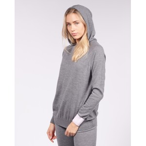Cavells Contrast Cuff Lounge Hood in Charcoal/Light Pink