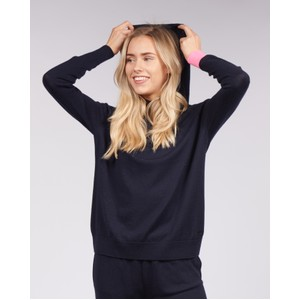 Cavells Contrast Cuff Lounge Hood in Dark Navy/Bright Pink