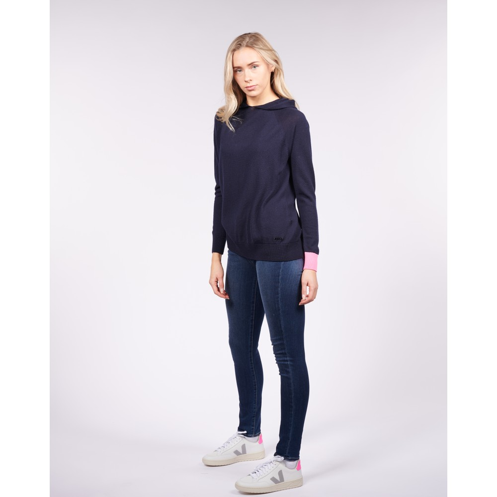 Cavells Contrast Cuff Lounge Hood Dark Navy/Bright Pink