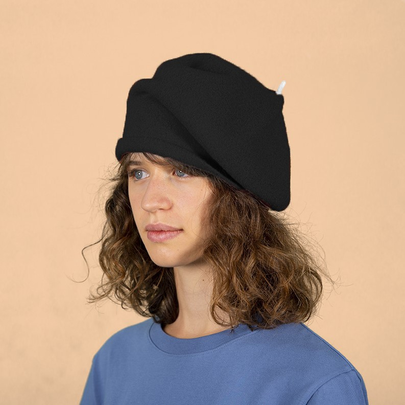 Kopka Accessories Roll Up Beret With Tip Black/White