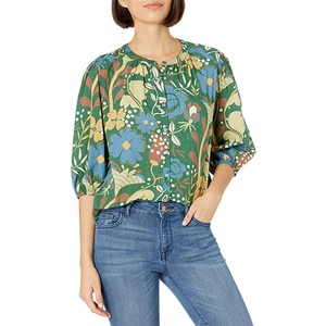 Affie Bln Slv Printed Blouse Green/Multi