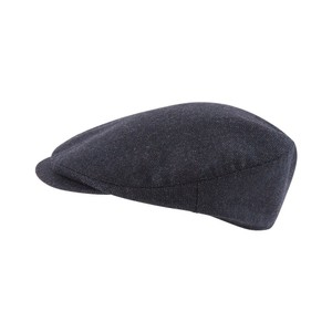 Ladies Tweed Cap Navy Herringbone Tweed