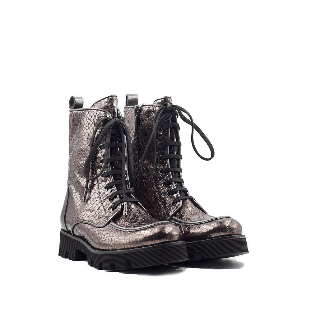 Pons Quintana Jenny Metallic Snake Boot Pewter