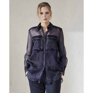 Sheer Silk Cntrst Stitch Shirt Deep Blue
