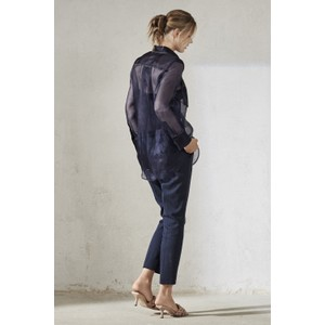 Luisa Cerano Sheer Silk Cntrst Stitch Shirt Deep Blue