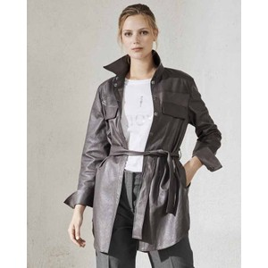 Faux Leather Shirt Jacket Dark Mineral Grey