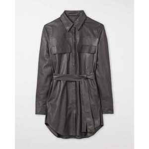 Luisa Cerano Faux Leather Shirt Jacket Dark Mineral Grey