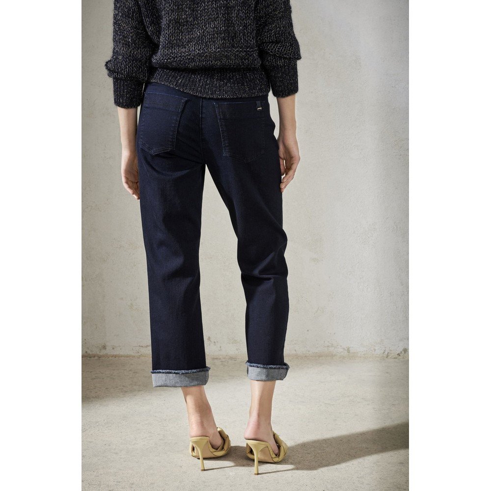 Luisa Cerano Fringe Turn Up Straight Jeans Deep Blue