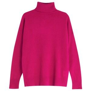 Lightweight Roll Collar Jumper Neon Pink