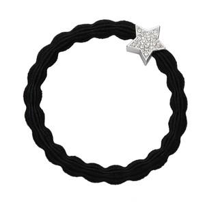 Diamante Silver Star Band Black