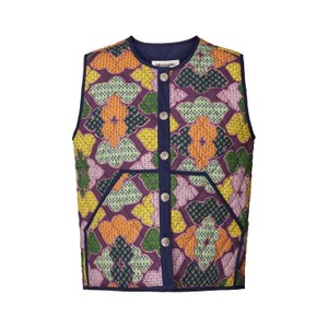 Lollys Laundry Santiago Quilted Vest Navy/Multi
