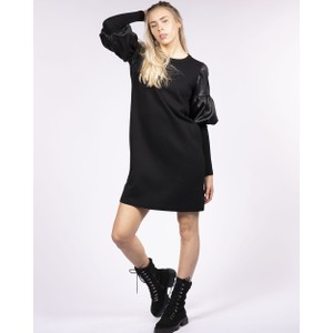 D Exterior Puff Sleeve Jumper Dress Black