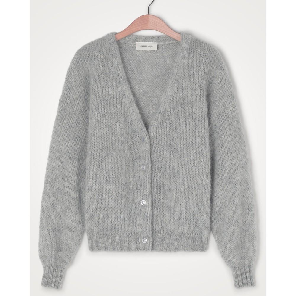 American Vintage Vogbay Chunky Knit Button Cardi Grey Melange