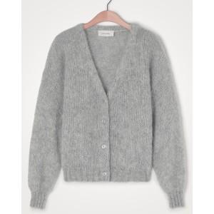 Vogbay Chunky Knit Button Cardi Grey Melange