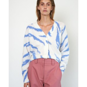 Second Female Rego Tiger Stripe Cardi White/Blue Bonnet