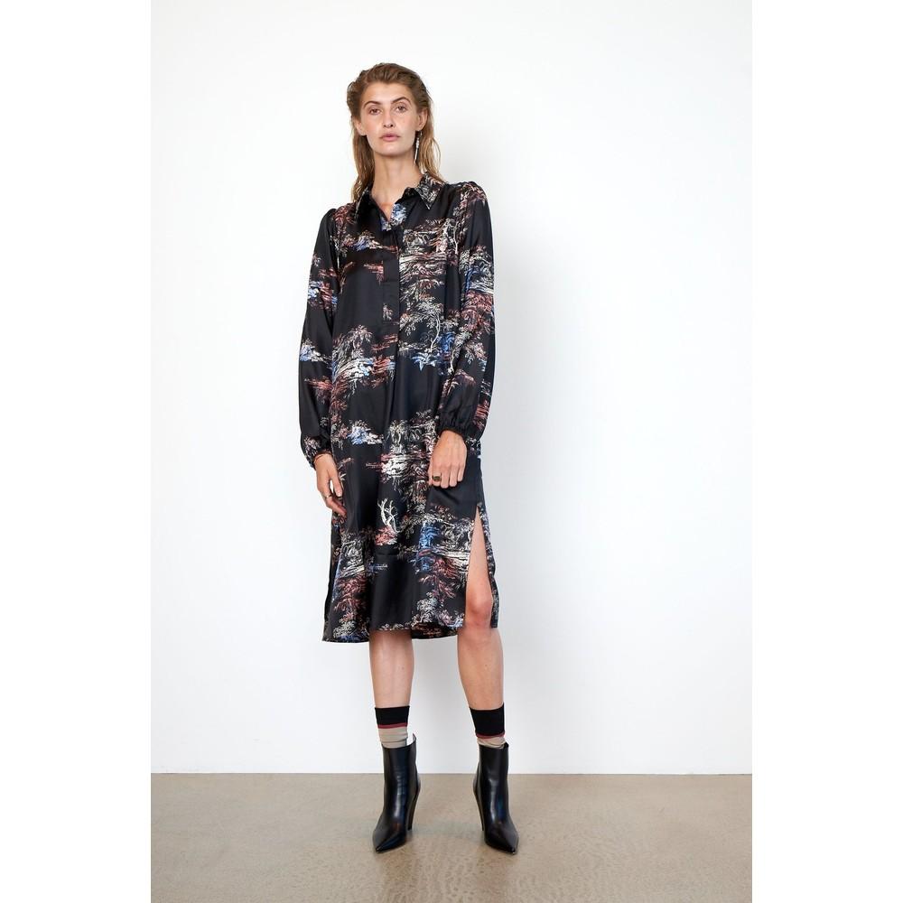 Second Female Roanne Garden Midi Dress Black/Multi