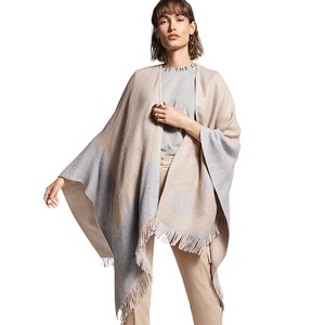 Fringed 2 Colour Shawl Trenchcoat Patterned