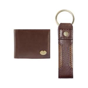 Key Ring Bifold Wallet Gift Set Marron Foncé