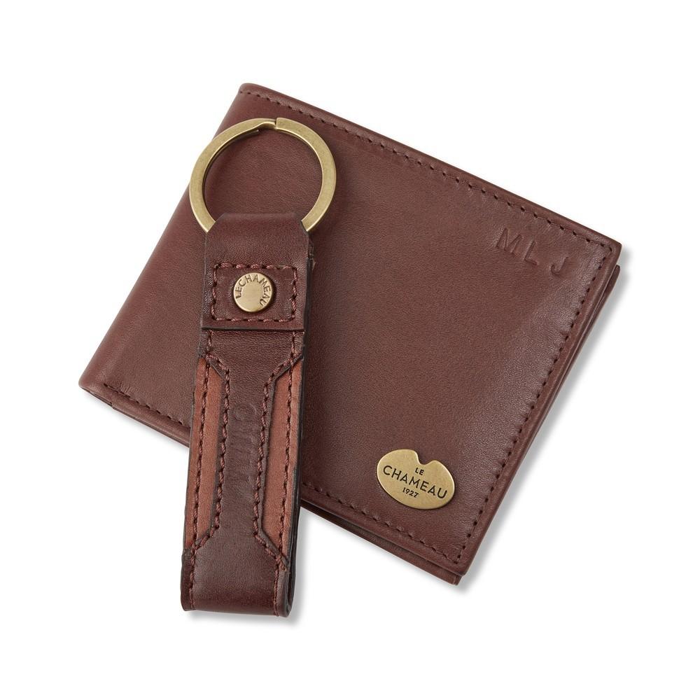 Le Chameau Key Ring Bifold Wallet Gift Set Marron Foncé