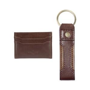 Key Ring & Card Wallet Set Marron Foncé