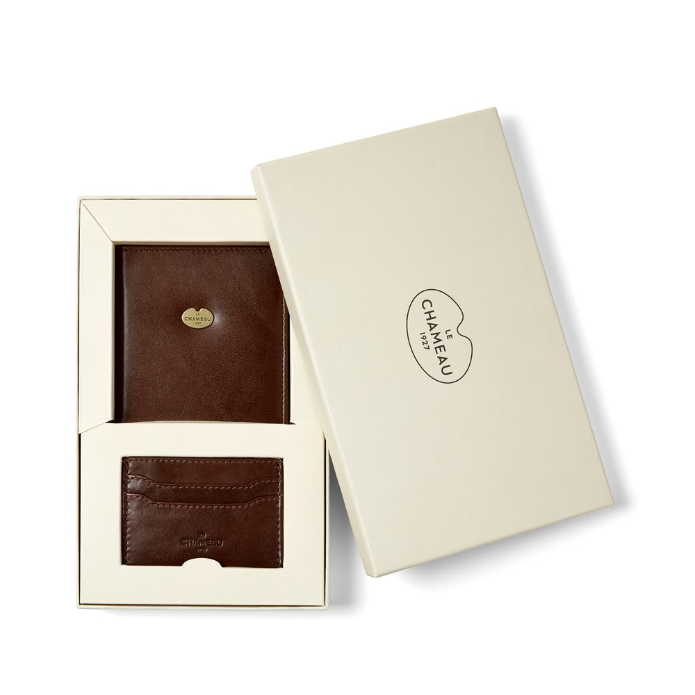 Le Chameau Licence & Card Wallet Gift Set Marron Foncé