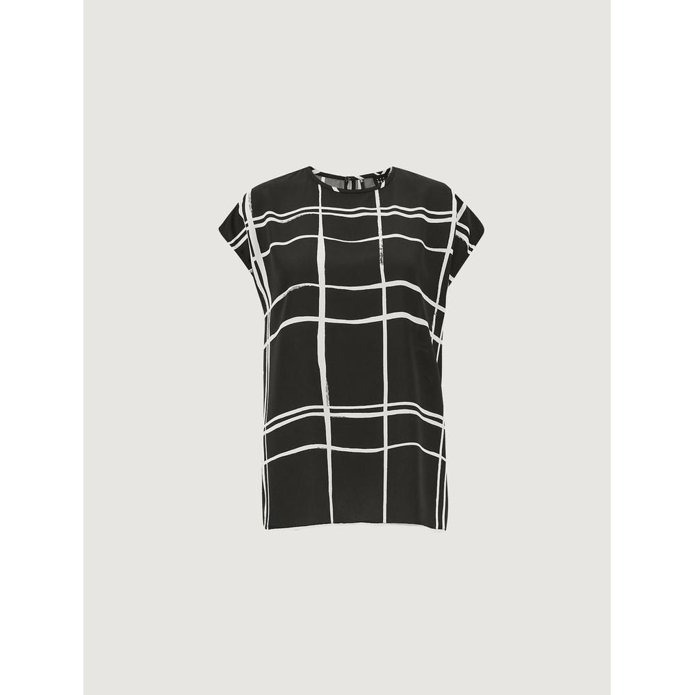 Marella English S/L Large Check Top Black/Off White